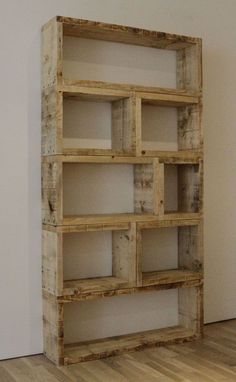 Recycled wood pallet shelves.