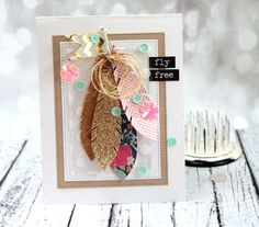 sequin feather card