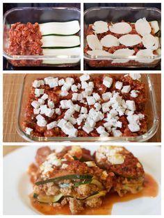 Die beste Zucchinilasagne der Welt! Zutaten: 1 – 2 Zucchini (500 gr.) 1 Zwiebel, in Würfel geschnitten 1 Knoblauchzehe, sehr fein geschnitten 500 gr. Hackfleisch vom Rind 100 gr. Schafskäse, gewürfelt 100 gr. Mozzarella, in Scheiben geschnitten (optional) 500 gr. fein passierte Tomaten 2 EL frisch gehackte Rosmarinblätter 1 EL frisch gehackte Petersilie 1 TL Oregano (frisch oder getrocknet) Salz und Pfeffer 1 EL Öl