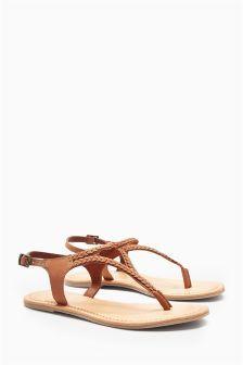 Leather Plait Toe Thong Sandals (424367) | £20