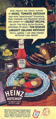 1954 Heinz Ketchup ad. #vintage #1950s #food #ads