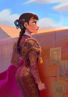 """Stylized Character """"She could have learned to make candy or fireworks or sparkly underwear for wrestlers but no, she learned how to bullfight! Female Character Design, Character Design Inspiration, Character Art, Illustrations, Illustration Art, Timberwolf, Mexican Art, Pretty Art, Anime"""