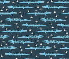 A Congregation of Alligators - Parisian Blue/Soft blue - andrea_lauren - Spoonflower