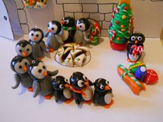 fimo penguins playing