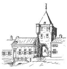 Elburg was een vroeger een ommuurde vesting in een vierkant. Op elke hoek, noord, zuid, oost en west was een poort.  Aan de westkant stond de Graaf Hendrikpoort, een klein poortje. Aan de oostkant stond de Mheenpoort, naar de weg naar Kampen Aan de zuidkant was een poort die leidde naar het Goor en dit was de Goorpoort. Deze is evenals de Graaf Hendrikpoort en de Mheenpoort in 1853 afgebroken. Deze tekening laat zien hoe de Goorpoort er ongeveer heeft uitgezien.
