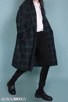 daeum wool check long coat You May Also Like What's HOT Look Fashion, Korean Fashion, Winter Fashion, Fashion Coat, Mode Outfits, Casual Outfits, Fashion Outfits, Fasion, Grunge Outfits