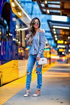 fashion blogger mia mia mine wearing a shoulder-tie gray cardigan and  ripped jeans from 4ccf10f3f9