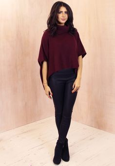 Angora Knit Cropped Cape Jumper in Burgundy - One Nation Clothing - One Nation Clothing - 1