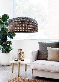 DOPPIO GRID PENDANT LIGHT DARK - AY ILLUMINATE Interior Lighting, Lighting Design, Ay Illuminate, Bamboo Shades, Light Fittings, Table Linens, Home Living Room, Light In The Dark, Pendant Lighting