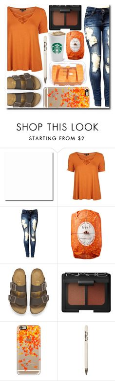 """Pumpkin Spice Latte  🎃🍂"" by sweetcheeksgurl8 ❤ liked on Polyvore featuring Topshop, Fresh, Birkenstock, NARS Cosmetics, Casetify and Seltzer"