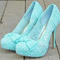 Beautiful Mint Lace Bow High Heel Shoes #Mint #Lace #Heels by maria.t.rogers