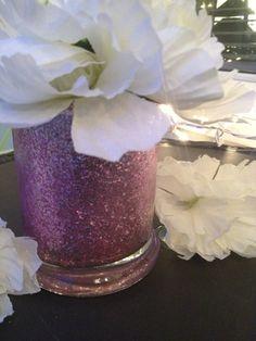 Small Round Glittered Vases :)