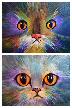 Sandy Dawkins painted this wonderful kitty. Notice what a difference changing the eyes made. Sometime a very minor thing can make a huge difference in the artwork. Group Art Projects, Animal Art Projects, 7th Grade Art, Ecole Art, Art Club, Art Plastique, Elementary Art, Teaching Art, Rock Art