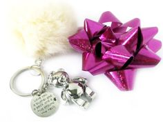 Teddy Bear Keychain, Bear Pom Keychain, Fluffy Keychain, Fur Pom Pom, Pink Fur Keychain, Girl's Gift