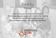 Check out a poem by one of the participants from our reading circles. I Dont Know You, Live For Yourself, You And I, Circles, Knowing You, Literature, Poems, Daddy, Shit Happens