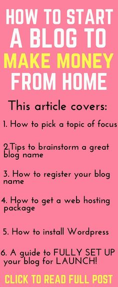 How to start a blog to make money from home. These are all the steps you need if you're a beginner and don't know where to start!