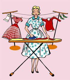 """Mid Century style Laundry Room print - Fashionista Ironing, on Etsy… Pink Laundry Rooms, Laundry Art, Laundry Humor, Images Vintage, Vintage Art, 50s Vintage, Vintage Humor, Vintage Prints, Desenho Pop Art"