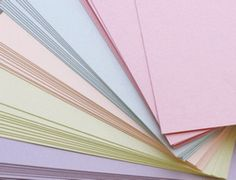 Coloured papers to choose from