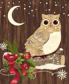 Alpine Holiday-Owl-Vertical With Pattern by Jennifer Brinley