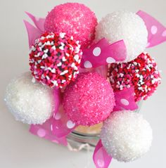 Pink, White and Heart sprinkles covered Cake Pops for Valentine's Day by Snickety Snacks