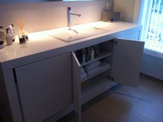 IKEA Hackers: All-In-One Multipurpose Bathroom Furniture which hides a washer & dryer