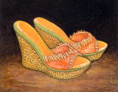 """Cantaloupe Sandals by `ursulav::""""Among the early work of elven fashion designer Xerxes Finchbones (before his eventual descent into madness, owing to syphilis contracted from a toilet seat in the Drunken Naiad strip club) were a series of shoes grown to Finchbones's specifications by teams of underpaid but fanatical gardeners.   Cantaloupe platform sandals proved a popular design, and eventually were duplicated in both honeydew and muskmelon cultivars."""""""