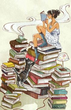 Love the idea of a girl sitting on a stack of books reading and coffee..... Or tea!!