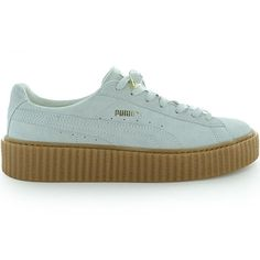 PUMA BY RIHANNA CREEPER ($120) ❤ liked on Polyvore featuring shoes, sneakers, creeper platform shoes, platform shoes, suede platform sneakers, white trainers and star sneakers