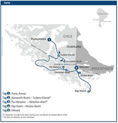 Karte Kreuzfahrt Chile