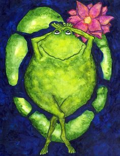 Lilly Pad Toad Frogs Animals Painting by Debi Hubbs