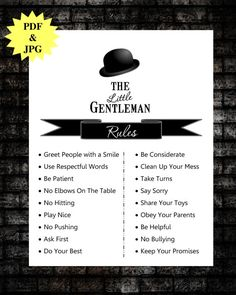 Little Gentleman's rules that he will know.