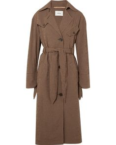 3a1881587af Women s Brown Gingham Woven Trench Coat