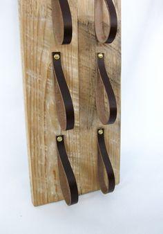 Wood & Leather Wine Rack reclaimed wood and by BlisscraftandBrazen