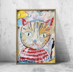 Collage Artwork, Collage Artists, Cat Posters, Torn Paper, Ginger Cats, Shape And Form, Art Pieces, Hand Painted, Frame