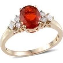 Fire opal and diamonds