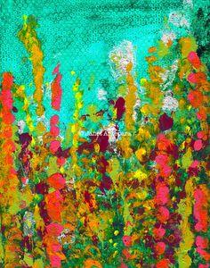 Green Garden Print by JanetAnteparaDesigns on Etsy, $28.00 Green Garden is an acrylic painting of brightly colored wild flowers against a green sky.  #art #wallart #artprint #abstractart #flowers #modernart #painting #green #floral #homedecor #artwork #print #greengarden #garden
