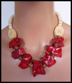 Wouldnt this be perfect for Valentines Day......and the rest of the year! Chunky red coral is separated by hand coiled bronze beads. Hand
