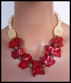MAMA caliente rojo collar de Coral rojo por sandrawebsterjewelry
