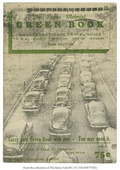 The Negro Motorist Green Book, popularly known as the Green Book, was a travel guide intended to help African American motorists avoid social obstacles prevalent during the period of racial segregation, commonly referred to as Jim Crow. Jim Crow, Green Books, African American History, History Facts, Guide Book, Black History, That Way, Travel Guide, The Book