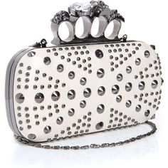 Lorna Diamante Detail Studded Knuckle Box Clutch ($56) ❤ liked on Polyvore