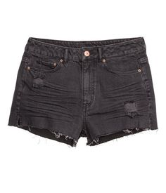 Black. Short, 5-pocket shorts in washed denim with heavily distressed details, a high waist, and raw-edge hems.