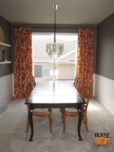 For long curtain rod use electrical conduit (sturdy, lightweight, inexpensive), spray paint (use automotive primer first), and IKEA glass orb finials.  Also shows how to create a faux pinch pleat curtain with clip-on curtain rings.