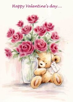 Cards are shipped the Next Business Day. Happy Birthday Images, Happy Birthday Cards, Happy Valentines Day, Urso Bear, Teddy Bear Pictures, Creation Photo, Pintura Country, Tatty Teddy, Cute Teddy Bears