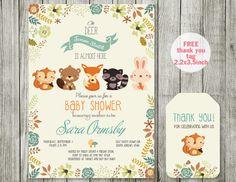 Fox baby shower invitation printable - animal woodland baby shower invites with fox,- Gender Neutral, boy invitation - Animal Baby Shower by ABCSongShop on Etsy