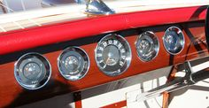 1959 Chris Craft 18' Capri gauges, fuel, amps, speedometer, oil pressure, temperature Chris Craft Boats, Classic Wooden Boats, Oil Pressure, Vintage Boats, Lake Life, Gauges, Motors, Capri, Crafts