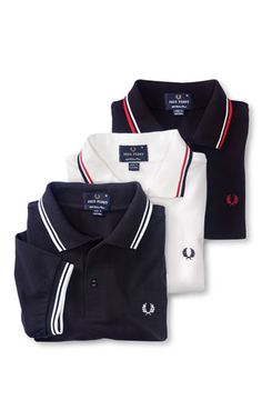 White - Red - Blue Fred Perry is perfect for layering. Fred Perry Polo Shirts, Polo T Shirts, Camisa Polo, Polo Design, Bespoke Shirts, Mod Fashion, Golf Outfit, Boy Outfits, Skinhead Style
