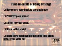 """Educational Theatre Drama Class Poster """"Fundamentals of Being Onstage"""" Theater Poster Drama Education, Drama Class, Middle School Drama, School Play, School Stuff, Student Guide, Acting Tips, Dance Teacher, Classroom Posters"""