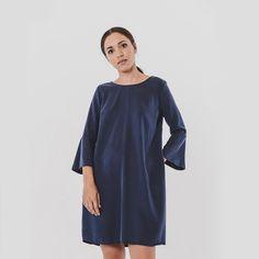 FLUTE DRESS - NAVY