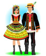 Strój lubelski Felt Dolls, Paper Dolls, Polish Clothing, Polish Folk Art, Educational Crafts, My Family History, Ethnic Outfits, Folk Fashion, Folk Costume