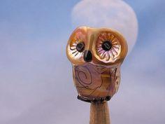 Monserat.... lampwork owl bead... sra by DeniseAnnette on Etsy, $13.00